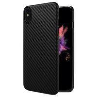 Черный силиконовый чехол HOCO для iPhone X текстура карбона