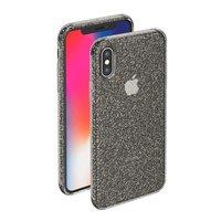 Черный прозрачный силиконовый чехол для iPhone X 10 с блестками Deppa Chic Case Black