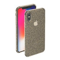 Золотой прозрачный силиконовый чехол для iPhone X 10 с блестками Deppa Chic Case Gold
