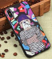 Черный силиконовый чехол Art case для iPhone X рисунок Бульдог моряк
