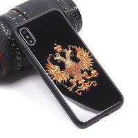 Черный силиконовый чехол со стеклянной накладкой для iPhone X 10 рисунок Герб