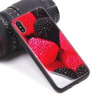 Черный силиконовый чехол со стеклянной накладкой для iPhone X 10 рисунок Ягоды