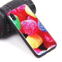 Черный силиконовый чехол со стеклянной накладкой для iPhone X 10 рисунок Мармелад
