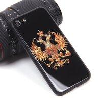 Черный силиконовый чехол со стеклянной накладкой для iPhone 7 / 8 рисунок Герб
