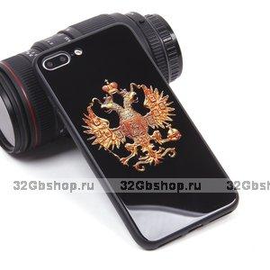 Черный силиконовый чехол со стеклянной накладкой для iPhone 7 Plus / 8 Plus рисунок Герб