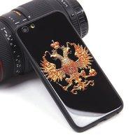 Черный силиконовый чехол со стеклянной накладкой для iPhone 6 / 6S рисунок Герб
