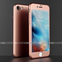 Двухсторонний пластиковый чехол 360 для iPhone 7 / iPhone 8 розовое золото с стеклом