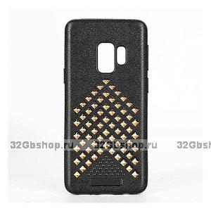 Черный силиконовый чехол для Samsung Galaxy S9+ Plus с золотистыми Ромбами