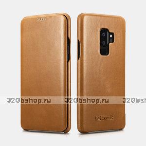 Бежевый кожаный чехол книга для Samsung Galaxy S9+ Plus - iCarer Vintage Series Beige