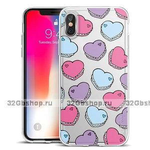 Прозрачный силиконовый чехол для iPhone X 10 с рисунком Печенье сердечки