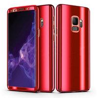 Зеркально красный двухсторонний защитный пластиковый 3D чехол 360 для Samsung Galaxy S9 Plus (S9+) с защитным стеклом