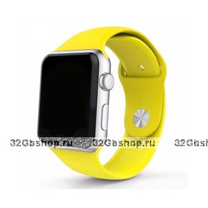 Спортивный силиконовый ремешок для Apple Watch 42мм желтый
