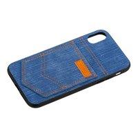 Голубой джинсовый чехол накладка для iPhone X / Xs - XOOMZ Pocket PU Back Cover Blue