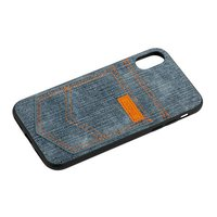 Синий джинсовый чехол для iPhone X / Xs - XOOMZ Pocket PU Back Cover Grey Blue