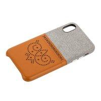 Коричневый чехол накладка для iPhone X / Xs с карманом для карт - XOOMZ Brogue Series Card Slot Back Cover Brown