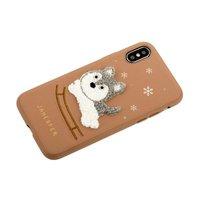 Коричневый силиконовый чехол с вышивкой для iPhone X собачка - JANESPER Sledge Dog Brown