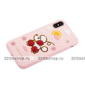 Розовый силиконовый чехол с вышивкой пудель для iPhone X / Xs - JANESPER Happiness Dog Pink