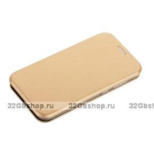 Золотой кожаный чехол для Xiaomi Redmi 6A - Fashion Case Slim-Fit Gold