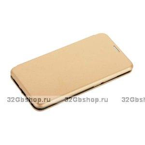 Золотой кожаный чехол для Xiaomi Redmi 6 - Fashion Case Slim-Fit Gold