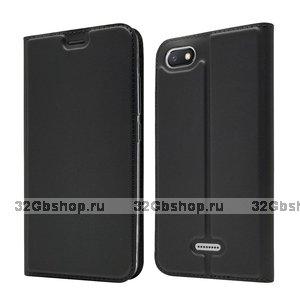 Черный кожаный чехол для Xiaomi Redmi 6A - Fashion Case Slim-Fit Black
