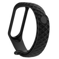 Черный ребристый силиконовый браслет для Xiaomi Mi Band 3