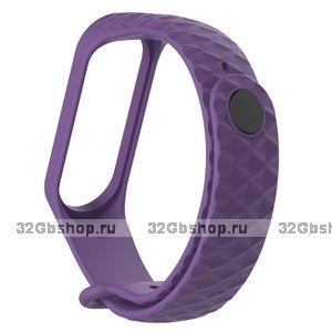 Фиолетовый ребристый силиконовый браслет для Xiaomi Mi Band 3