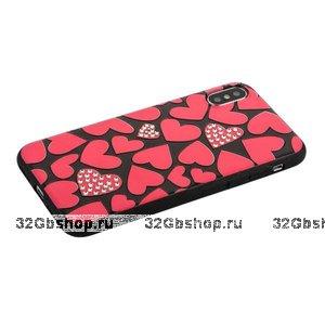 Чехол для iPhone X / Xs 10 с рисунком сердечки