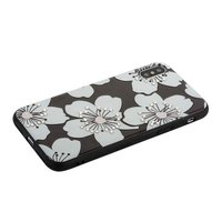 Силиконовый чехол со стразами для iPhone X / Xs 10 белые цветы