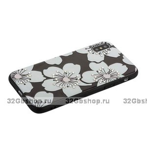 Силиконовый чехол со стразами для iPhone X 10 белые цветы