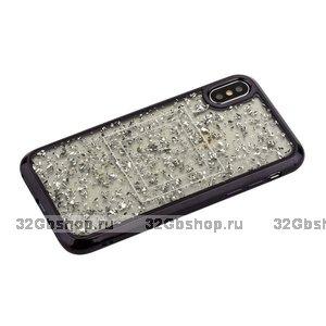 Силиконовый чехол с серебристыми блестками для iPhone X / Xs 10 черный бампер - Barbara Polo&Racquet Clory Series Black
