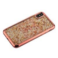 Силиконовый чехол с золотистыми блестками для iPhone X 10 бампер розовое-золото - Barbara Polo&Racquet Clory Series Rose Gold