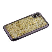 Силиконовый чехол для iPhone X / Xs 10 золотистые блестки графитовый бампер - Barbara Polo&Racquet Clory Series Grey