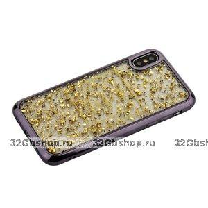 Силиконовый чехол для iPhone X 10 золотистые блестки графитовый бампер - Barbara Polo&Racquet Clory Series Grey