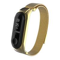 Золотой металлический магнитный браслет для Xiaomi Mi Band 3 миланское плетение