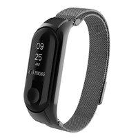 Черный магнитный браслет для Xiaomi Mi Band 3 миланское плетение