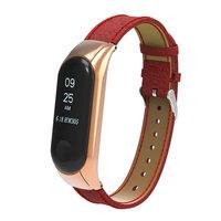 Красный кожаный ремешок для Xiaomi Mi Band 3