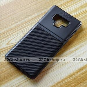 Черный силиконовый чехол для Samsung Galaxy Note 9 карбон