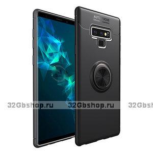 Черный противоударный чехол для Samsung Galaxy Note 9 с кольцом и магнитным держателем