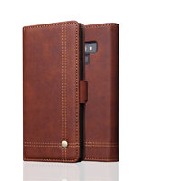 Коричневый кожаный чехол книжка для Samsung Galaxy Note 9 с отделением для карт