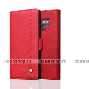Красный кожаный чехол книга для Samsung Galaxy Note 9 с отделением для карт