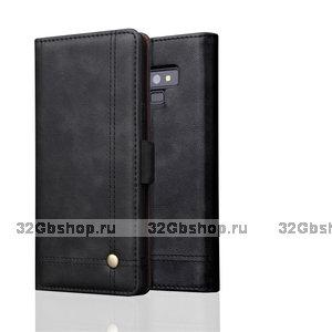 Черный кожаный чехол книжка для Samsung Galaxy Note 9 с отделением для карт