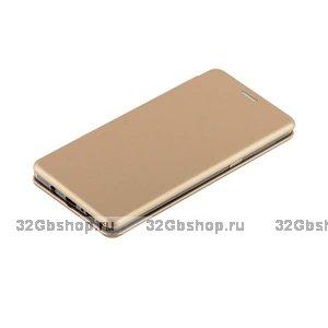 Золотой кожаный чехол книжка для Samsung Galaxy Note 9 с силиконовой вставкой
