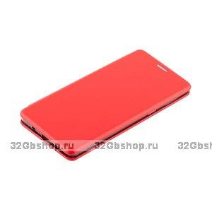 Красный кожаный чехол книжка для Samsung Galaxy Note 9 с силиконовой вставкой