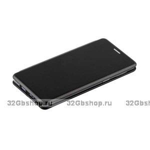 Черный кожаный чехол книжка для Samsung Galaxy Note 9 с силиконовой вставкой