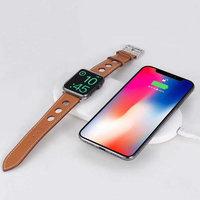 Беспроводное зарядное устройство COTEetCI для зарядки Apple Watch и iPhone X / Xs / 8 белое - Wireless Fast Charger White (10W)