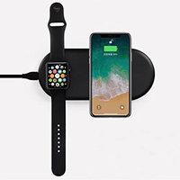 Беспроводная зарядка COTEetCI 2 в 1 для зарядки Apple Watch и iPhone 8 / X черная - Wireless Fast Charger Black (10W)