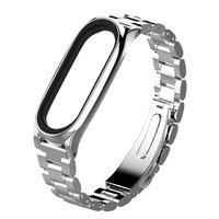 Металлический стальной браслет для Xiaomi Mi Band 3 серебристый