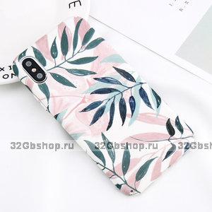 Пластиковый чехол для iPhone X / Xs 10 Листья покрытие Soft Touch