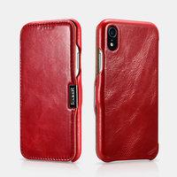 Красный кожаный чехол книга для iPhone XR - i-Carer Vintage Series Side-Open Red