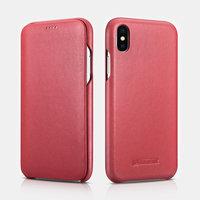 Красный кожаный чехол книжка для iPhone XS 6.5 Max - iCarer Curved Edge Luxury Series Red